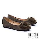低跟鞋 HELENE SPARK 華麗獺兔毛方鑽飾羊麂皮尖頭低跟鞋-綠