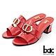 【bac】英文字母字樣金屬粗跟涼拖鞋-紅 product thumbnail 1