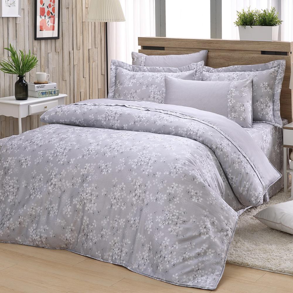 LASOL睡眠屋-40支/100%奧地利天絲 雙人兩用被床罩六件組清新花漾灰