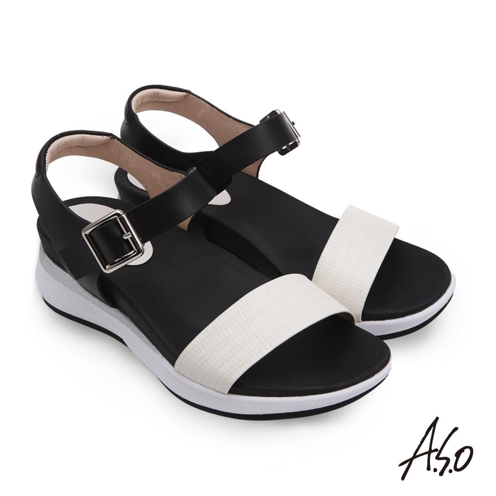 A.S.O 輕穩氣墊鞋壓紋牛皮休閒涼鞋-白色