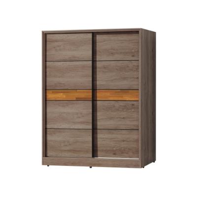 柏蒂家居-韋納5尺工業風推門/拉門衣櫃(三吊桿+單抽屜)-150x60x197cm