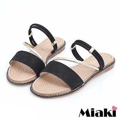 Miaki-涼鞋韓國首選平底2穿涼拖-黑色