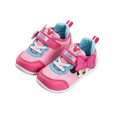 迪士尼童鞋 米妮 立體透氣魔鬼氈運動鞋-桃