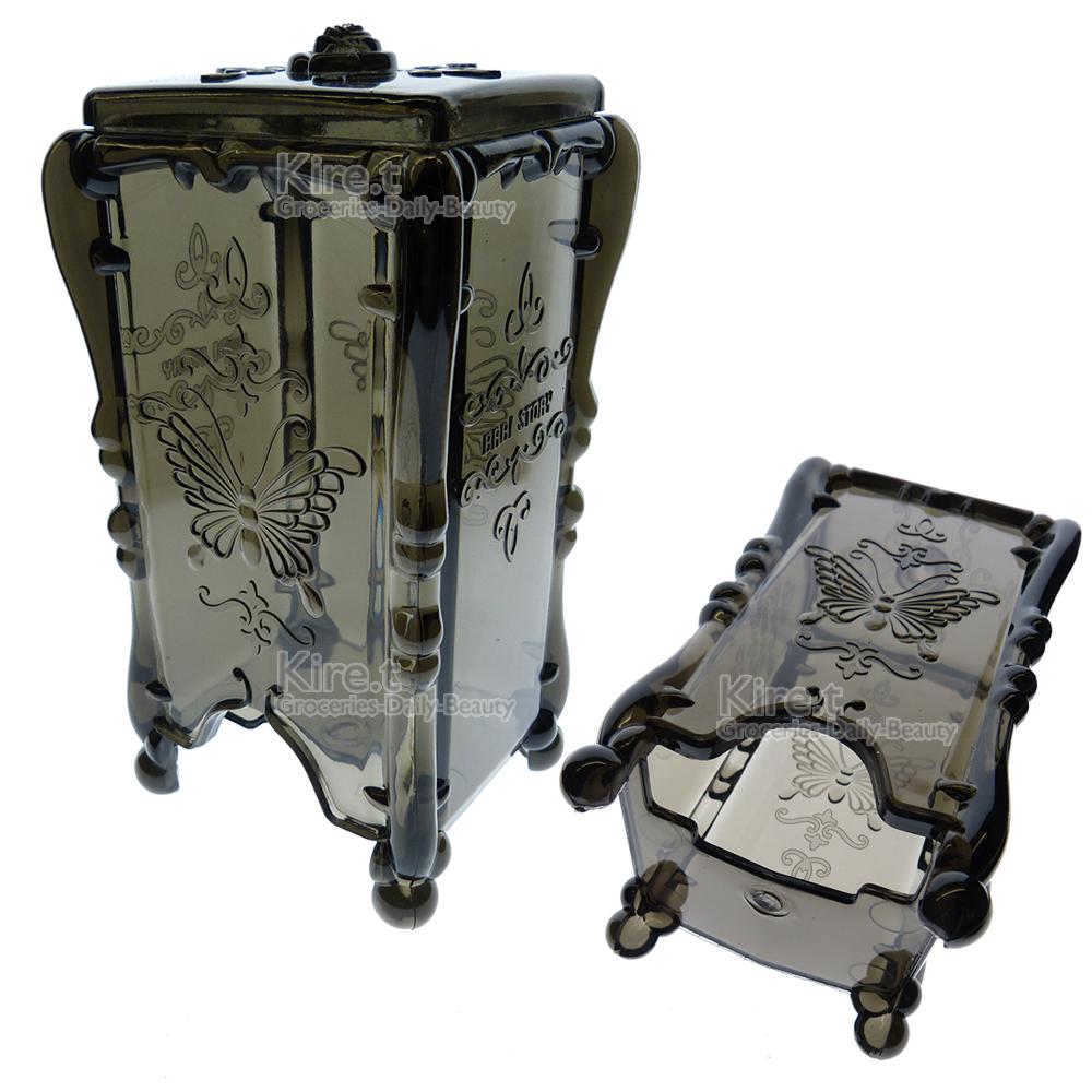 透明鐵灰蝴蝶抽取式化妝棉盒收納盒
