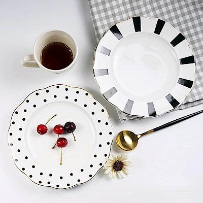 [Caldo卡朵生活] 黑白普普風復古描金早餐盤(買一送一)