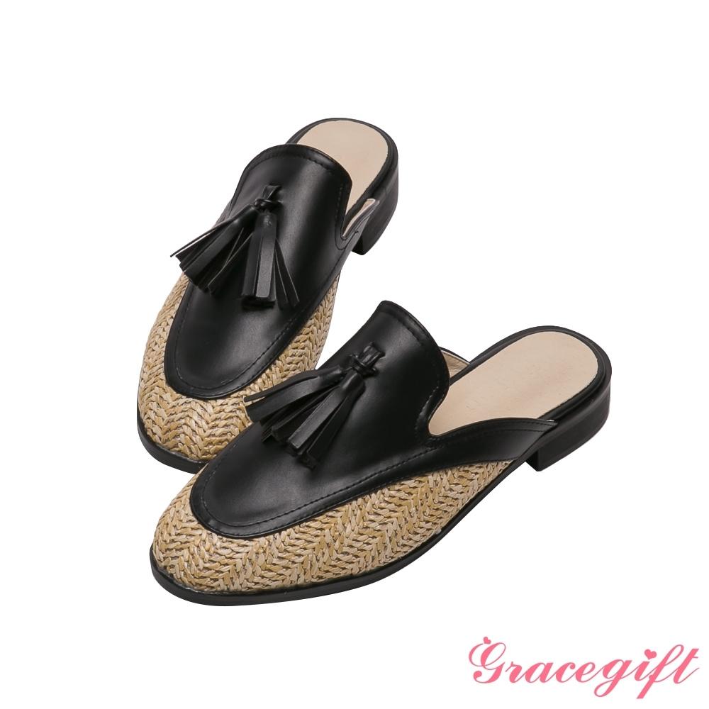 Grace gift-異材質流蘇平底穆勒鞋 黑
