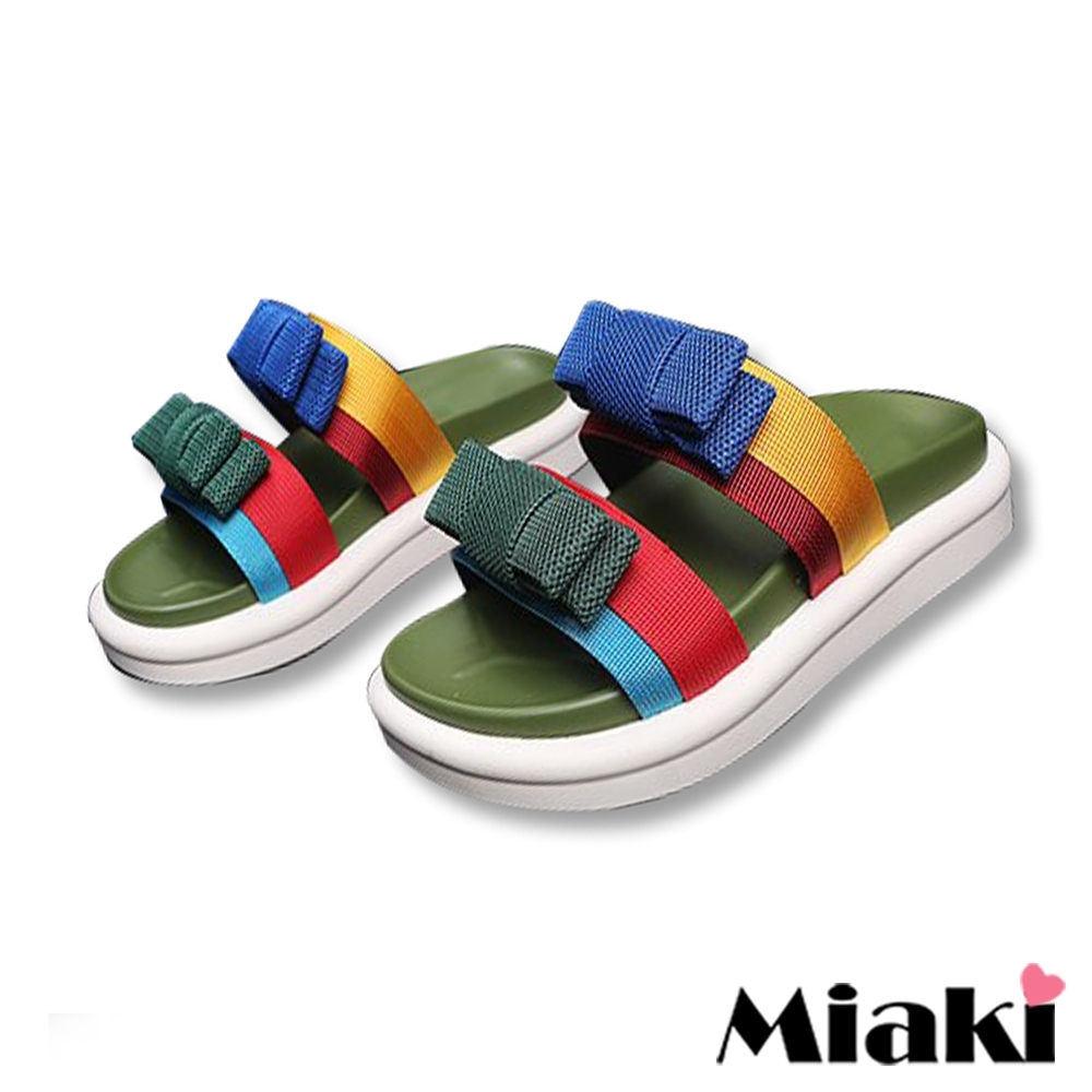Miaki-拖鞋繽紛仲夏厚底涼鞋-綠