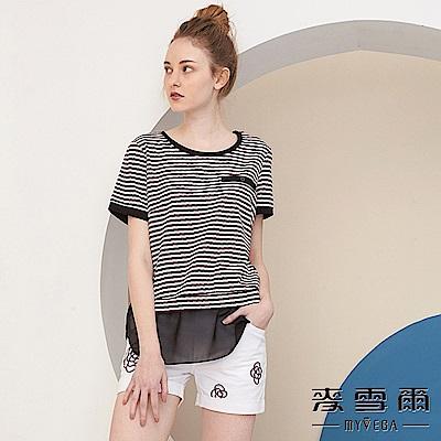 【麥雪爾】棉質休閒條紋拼接雪紡上衣