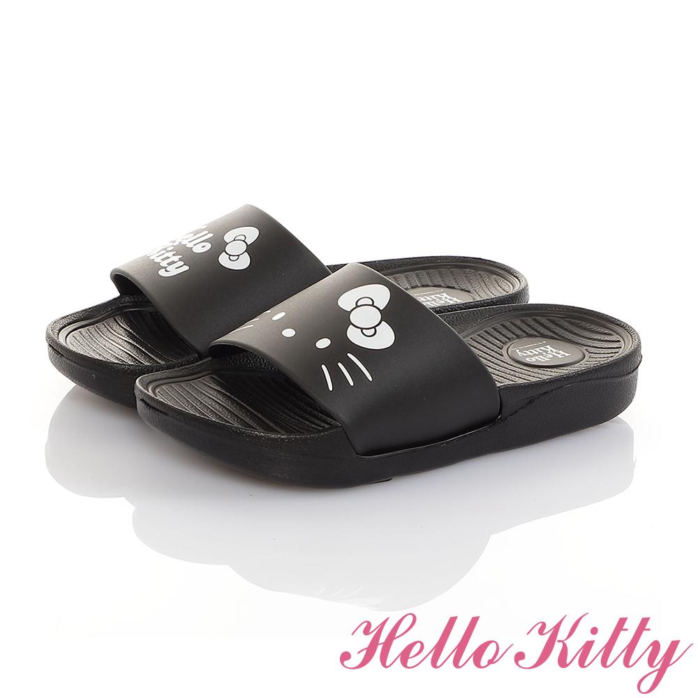HelloKitty親子鞋童鞋 不對稱室內外拖鞋-黑