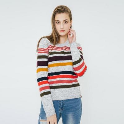 ROOTS女裝 彩色線條毛衣 -灰
