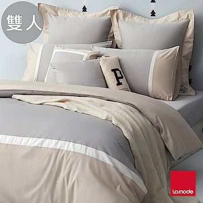 La mode寢飾 星空灰環保印染100%精梳棉被套床包組(雙人)