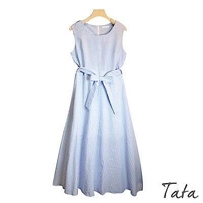 圓領條紋縮腰無袖洋裝(附綁帶) 共二色 TATA-F