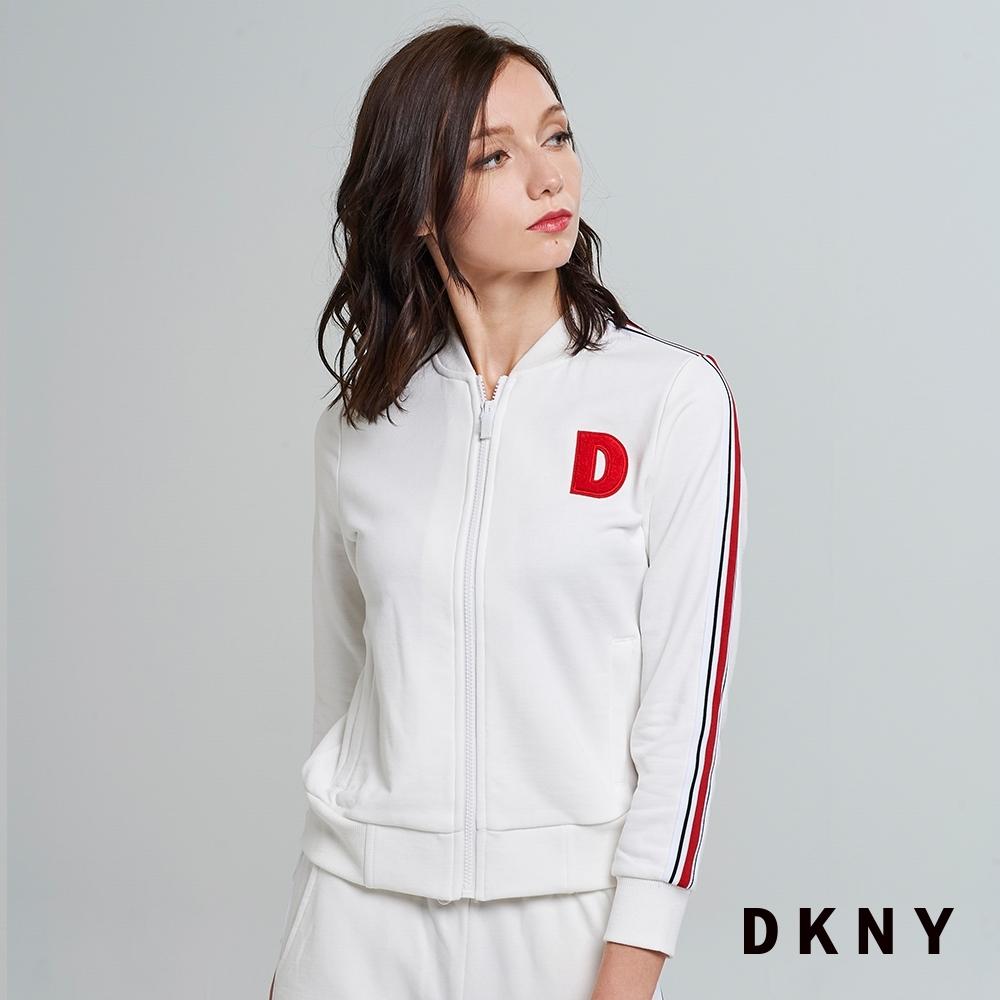DKNY 女款 立領美式字母休閒純棉外套 白
