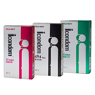 FUJI-NEO ICONDOM 艾康頓 衛生套 保險套 綜合裝 12入/盒x3盒