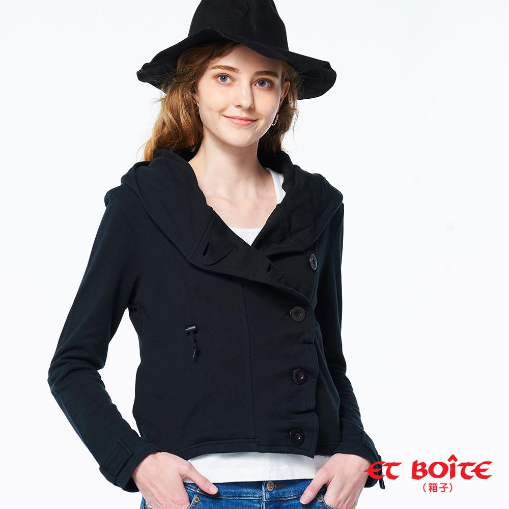 ET BOîTE 箱子 BLUE WAY –斜釦抽繩連帽短版外套(黑)