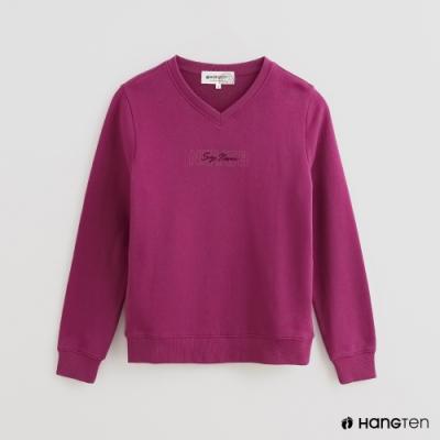 Hang Ten -女裝 - 極簡LOGO小V領棉質上衣 - 紫