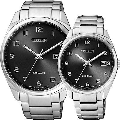 CITIZEN Eco-Drive 光動能經典簡約對錶-黑/42+35mm