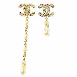 CHANEL 經典雙C LOGO 珍珠水晶垂吊耳環.金