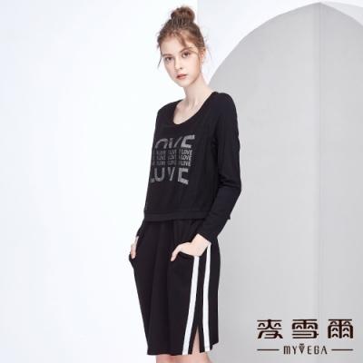 【麥雪爾】字母印花網紗假兩件休閒洋裝