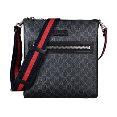 GUCCI Supreme雙G LOGO藍紅藍織帶PVC拉鍊斜背包(黑灰)
