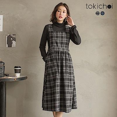 東京著衣 法國女孩經典格紋吊帶洋裝-S.M(共二色)
