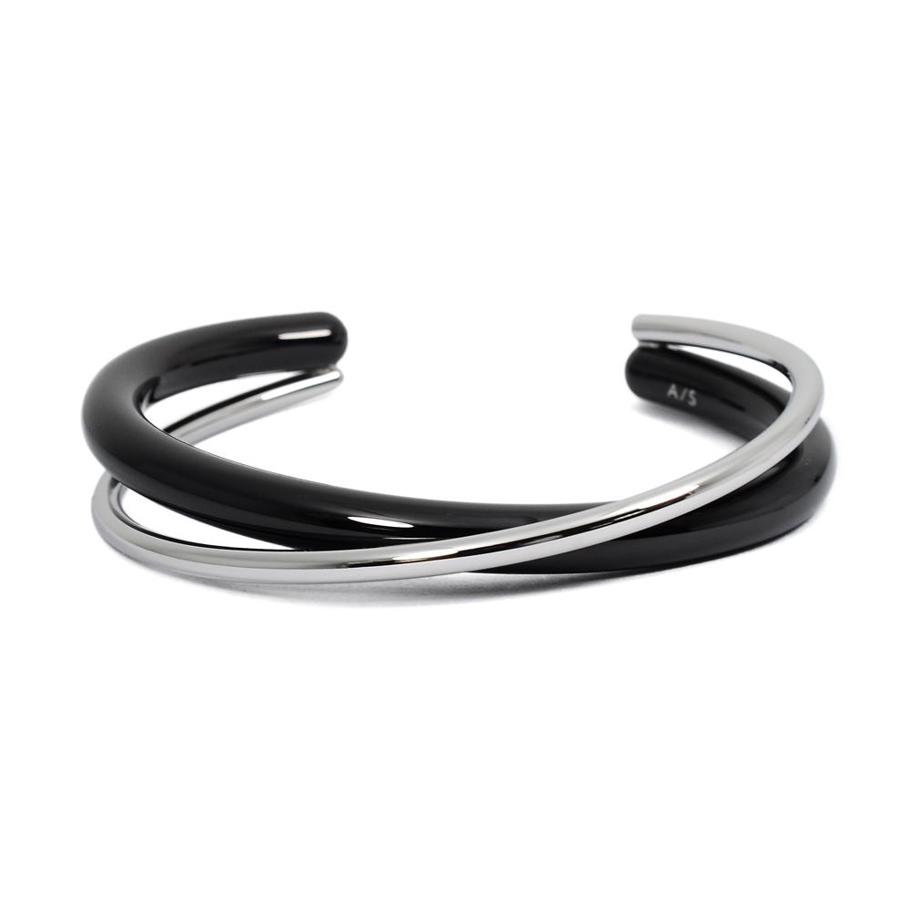 Calvin Klein CK Double簡約交織雙環銀x黑粗手環