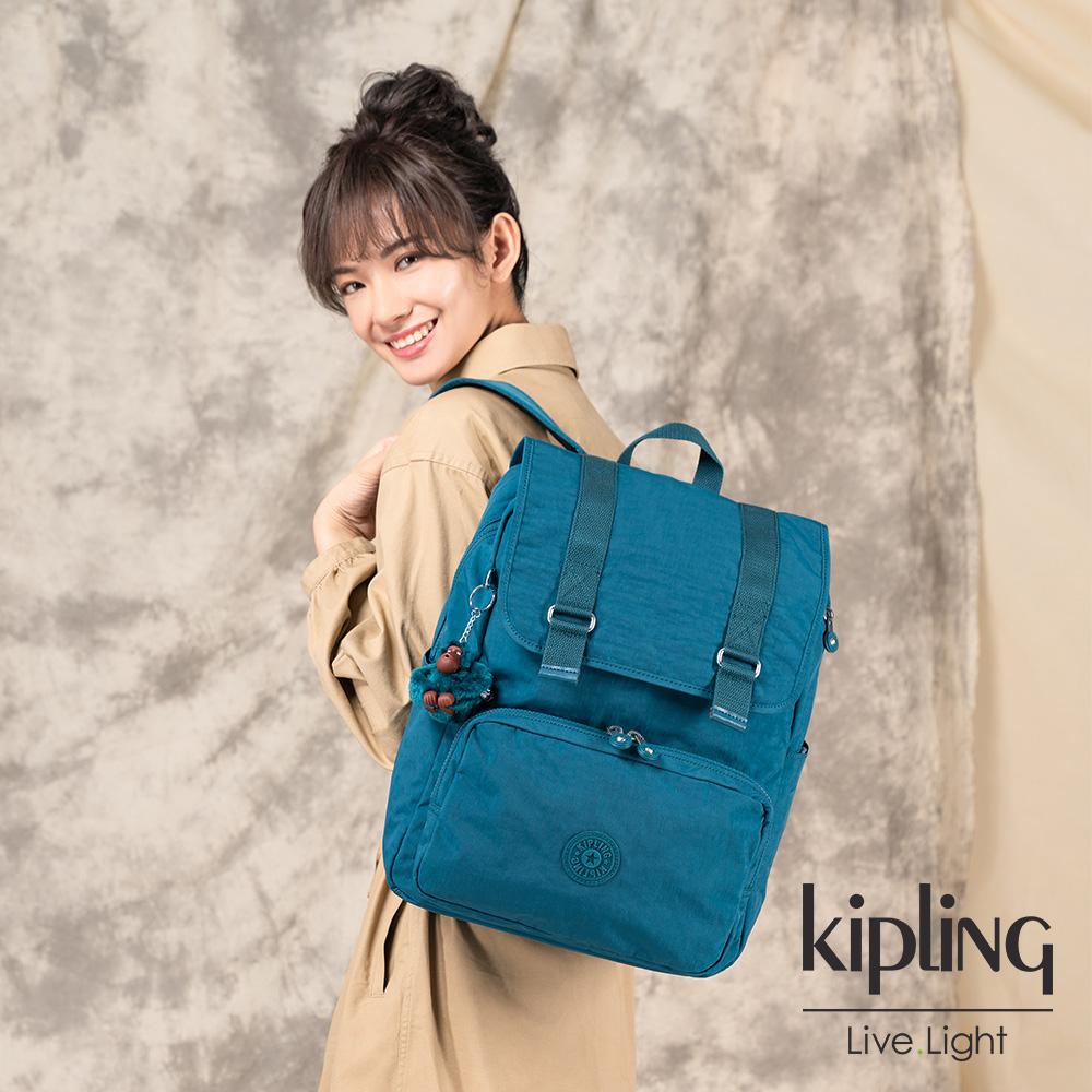 Kipling 遼闊海峽藍翻蓋拉鍊後背包-ODELL