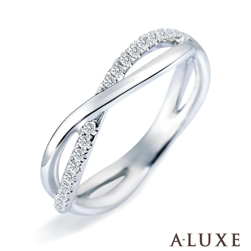 A-LUXE 亞立詩 單排鑽18K金鑽石線戒