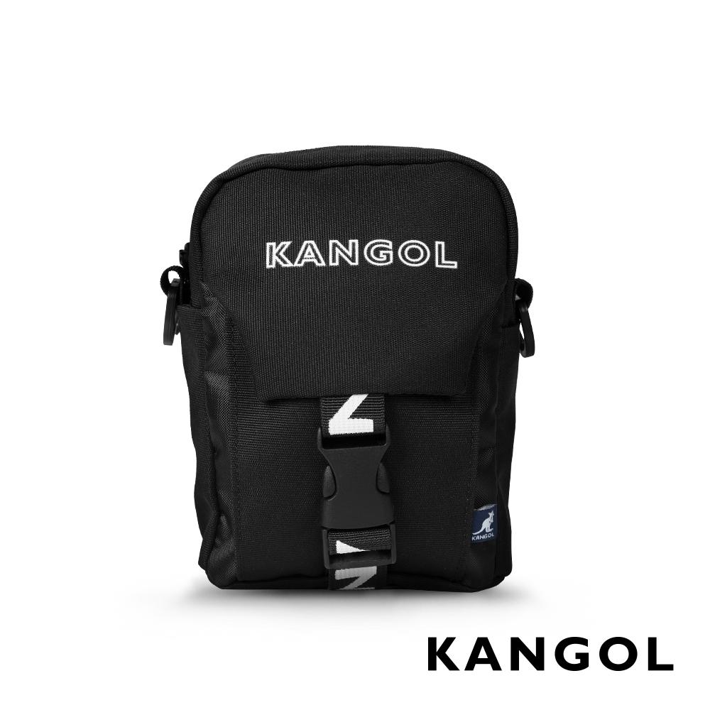 KANGOL LIBERTY系列 韓版潮流LOGO背帶小型插釦側背包-黑色 KG1193