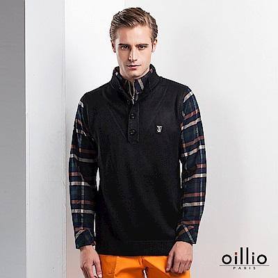 oillio歐洲貴族 長袖假兩件立領毛衣  柔軟保暖羊毛 黑色