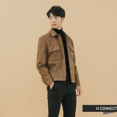 【周慶限量款】H:CONNECT 韓國品牌 男裝-雙口袋麂皮夾克外套-卡其