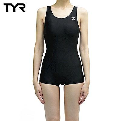 美國TYR 女用連身四角黑色訓練款泳裝 Solid Boyleg