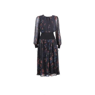 TORY BURCH RIB-WAIST 黑色印花雪紡縮腰洋裝