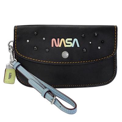 COACH太空系列NASA黑色全皮內雙層釦式翻蓋手拿包