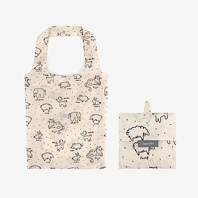 Dailylike 摺疊購物袋單肩包L-05動物塗鴉