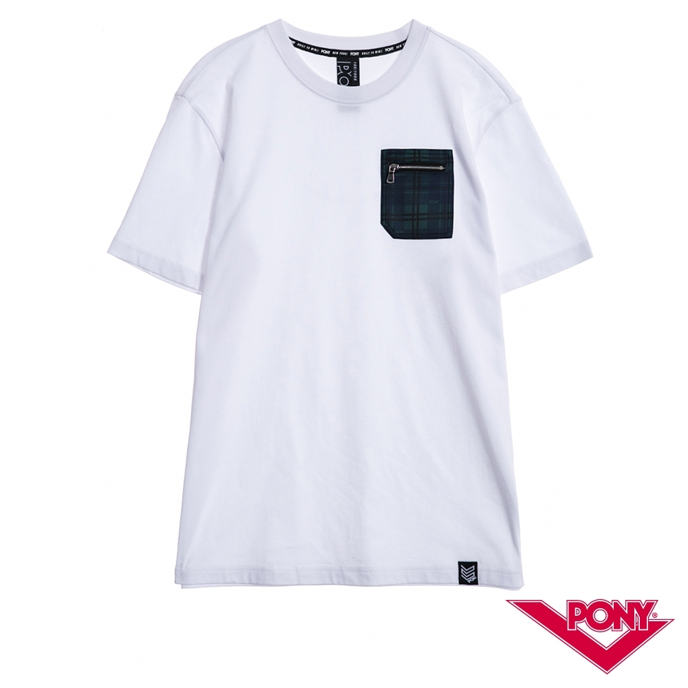【PONY】純棉短袖上衣T恤 男款 白