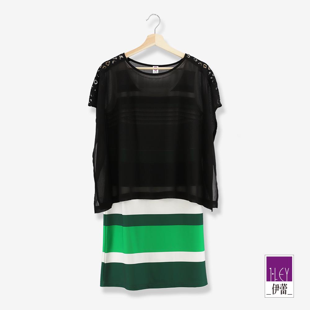 ILEY伊蕾 雪紡造型兩件式條紋洋裝(黑)