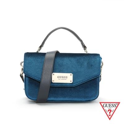 GUESS-女包-質感天鵝絨肩背包-藍