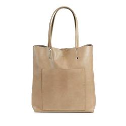 MARKBERG Antonella 丹麥手工牛皮個性長版托特包 購物包/手提包(米駝色)