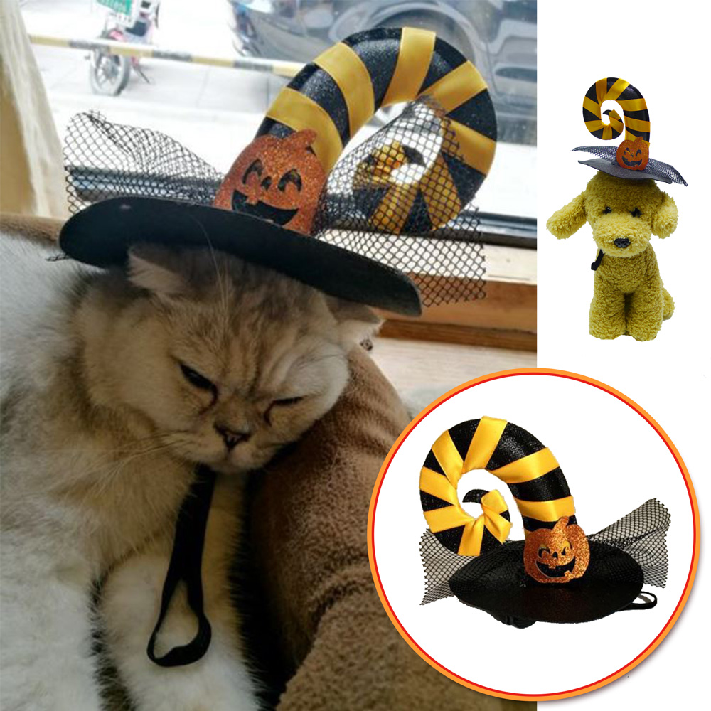 摩達客 寵物萬聖節派對-黃黑彎角網紗南瓜巫婆帽頭飾