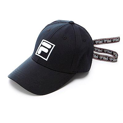 FILA時尚 LOGO 織帶帽-黑 HTS-5101-BK