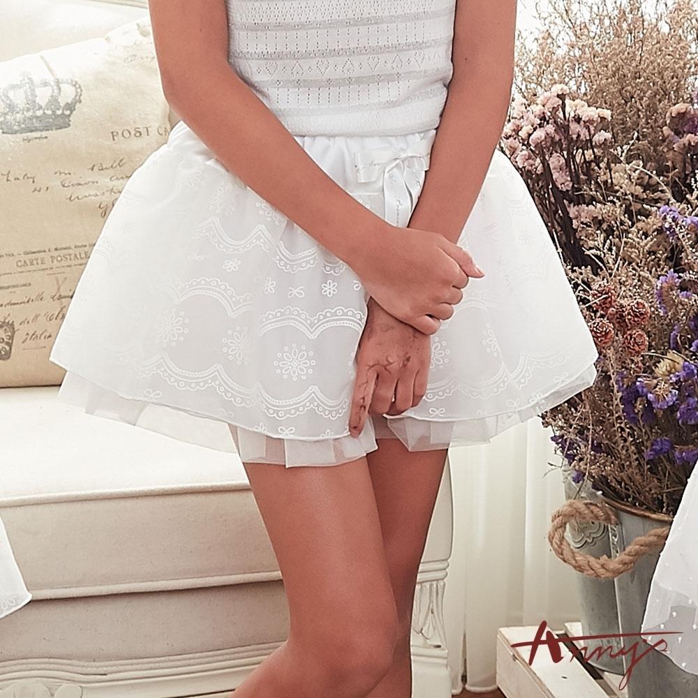 Annys安妮公主-夢幻公主緞面鬆緊帶蕾絲暗紋網紗超蓬蓬短裙*8176白
