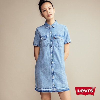 Levis 短袖牛仔洋裝 長版襯衫 雙口袋