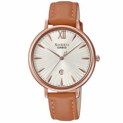 SHEEN 簡約雅致藍寶石設計皮帶腕錶-咖啡X白面(SHE-4534PGL-7A)