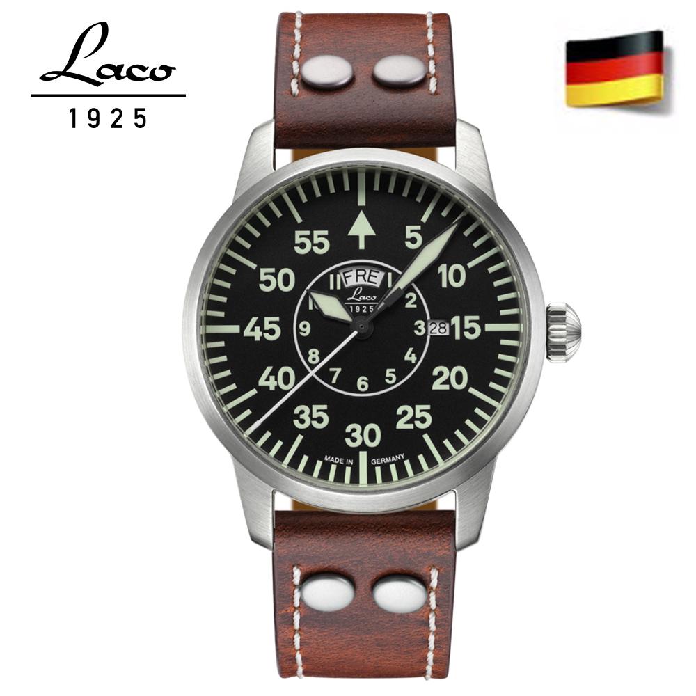 Laco 朗坤861806德國工藝1925 FLIEGER Zurich 飛行員軍事風格腕