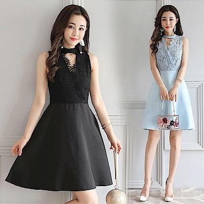 DABI 韓國風優雅短袖蕾絲V領性感修身顯瘦無袖洋裝