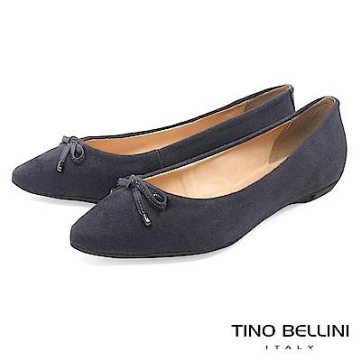 Tino Bellini巴西進口復古奢華絨布平底娃娃鞋_灰