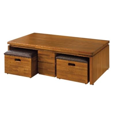 文創集 法普時尚5尺實木五抽大茶几(附贈收納椅凳二張)-150x80x48.5cm免組