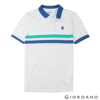 GIORDANO 男裝撞色條紋刺繡短袖POLO衫-11 白/青綠/藍
