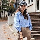 高含棉抓摺造型拋袖襯衫-OB嚴選